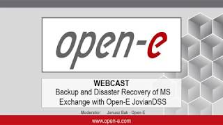 Tutorial/demo: Backup and Disaster Recovery of MS Exchange with Open E JovianDSS
