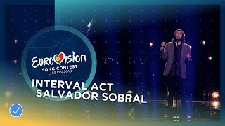 Salvador Sobral performs with Caetano Veloso at the Grand Final of the 2018 Eurovision Song Contest