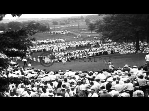 Bobby Jones makes a 40 foot putt and wins the US Open Golf Championship in Minnea...HD Stock Footage