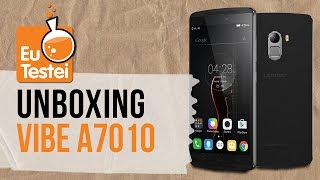 A caixa do Lenovo Vibe A7010, o primeiro da empresa no Brasil - Unboxing EuTestei