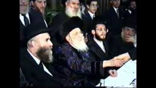 Bobover Rebbe HaRav Shloime Halberstam Z'Tzal at a wedding in Antwerp Belgium 5750 (1990)