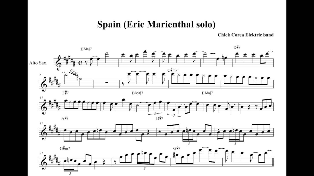 Eric Marienthal Alto Solo Transcription On Spain Live At