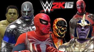 Apocalypse vs Thanos vs Hulk vs Spiderman vs Ghost rider vs Deadpool - WWE 2K16