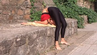 Hot Summer Contortion. Workout in nature.