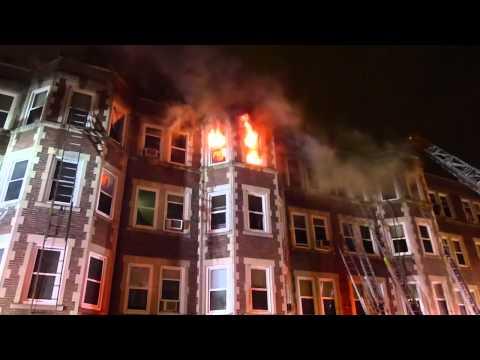 Boston Firefighters battle a 6-alarm fire in Roxbury October 17
