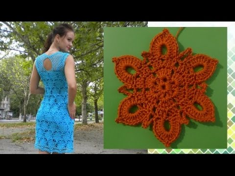 вязание крючком мотива для платья Youtube