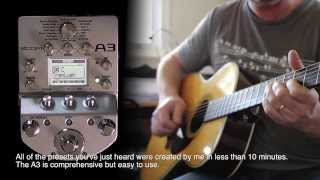 Zoom : A3 Acoustic Pre-Amp | Effects | Modeller - Demonstration and Review with Martin OM28E
