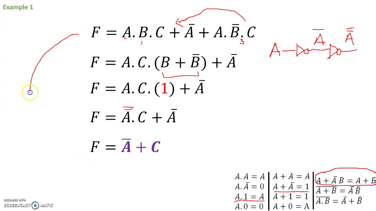 Example Problems Boolean Expression Simplification Youtube Logic Diagram For