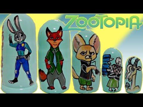 Opening Zootopia Nesting Dolls with Judy Hopps & Fox Wilde