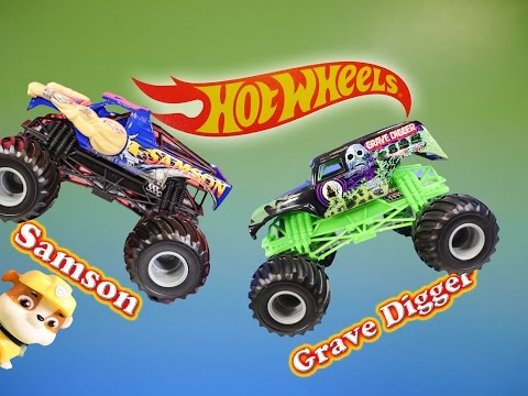 MONSTER TRUCKS Grave Digger & Samson Meet Paw Patrol a Toy Review