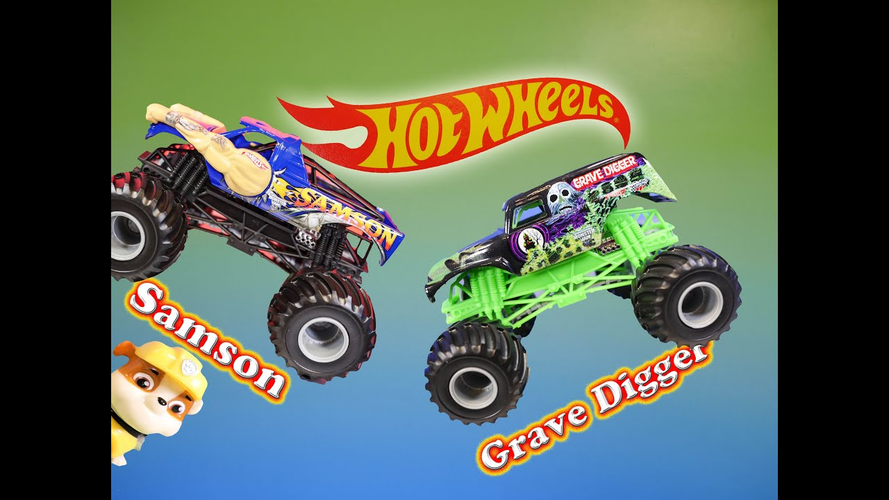 Monster trucks grave digger samson with nickelodeon paw patrol video toy review youtube