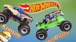 Monster Trucks Grave Digger & Samson With Nickelodeon Paw Patrol Video Toy Review