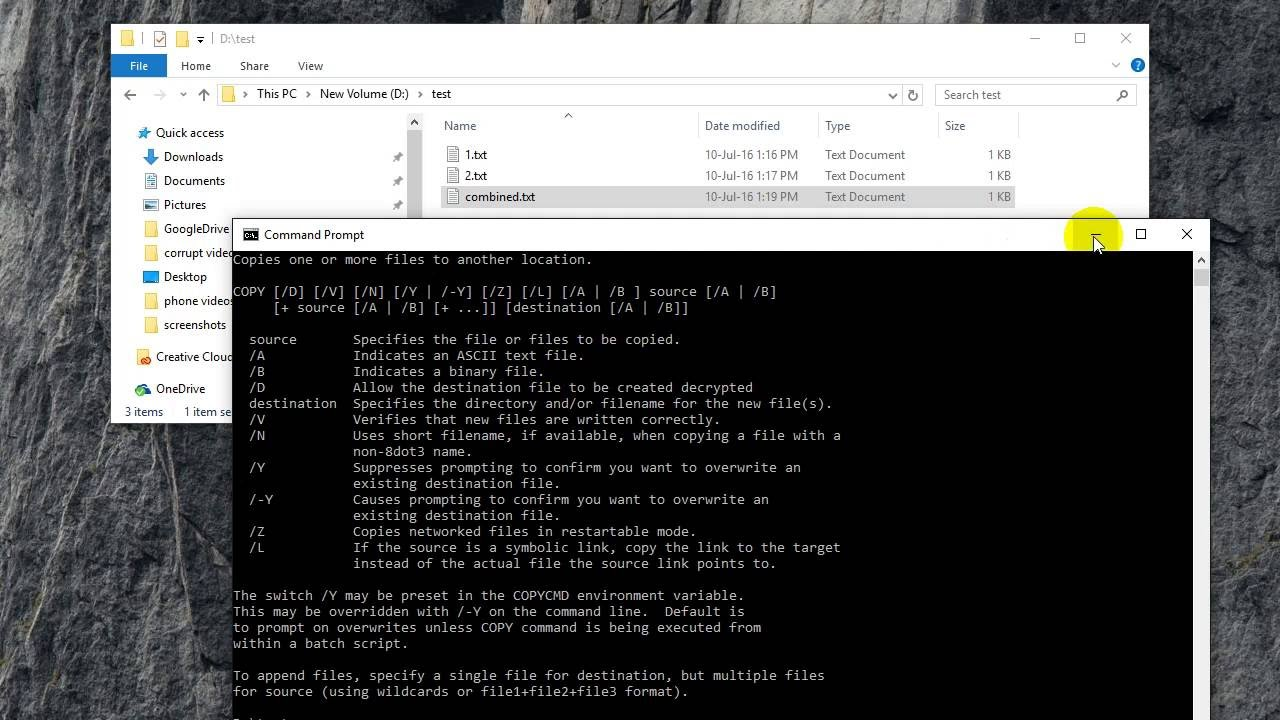 How to combine two files in Windows 10 using command prompt