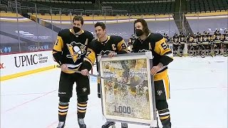 Penguins Present Sidney Crosby With Gifts As He Hits 1,000 NHL Games Played