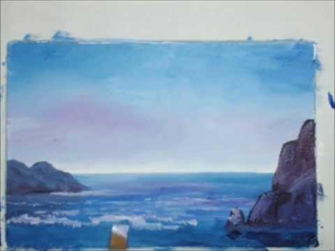 Морской пейзаж гуашью [Картина за 3 минуты!]