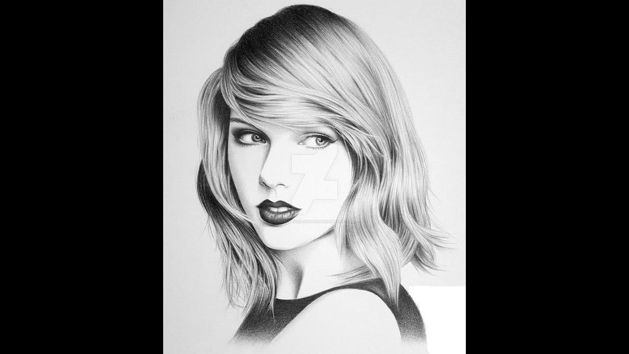 Taylor Swift Pencil Drawing & Bir Dakikada Izimi