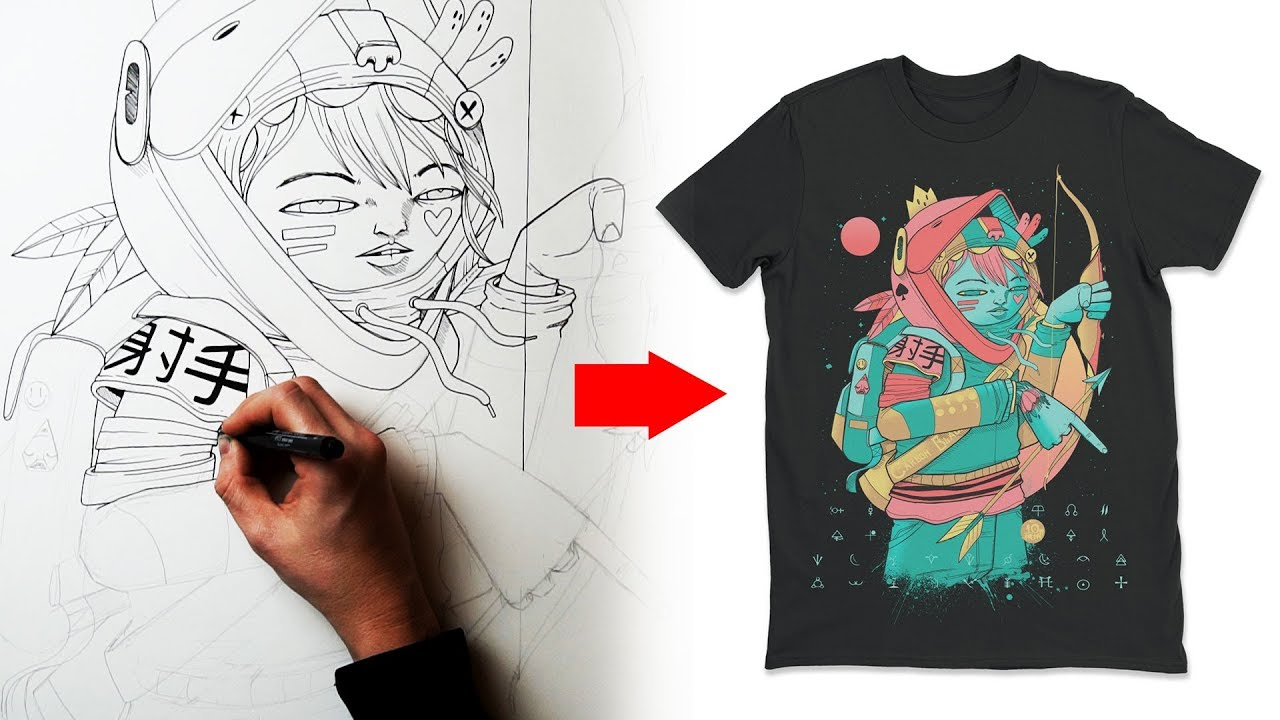 How I Design A T Shirt Clothing Art Tutorial Youtube