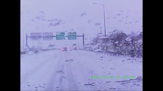 Winter roadtrip in Greece - Athens to Kozani - 600km in 10 minutes [last 3 minutes through blizzard]