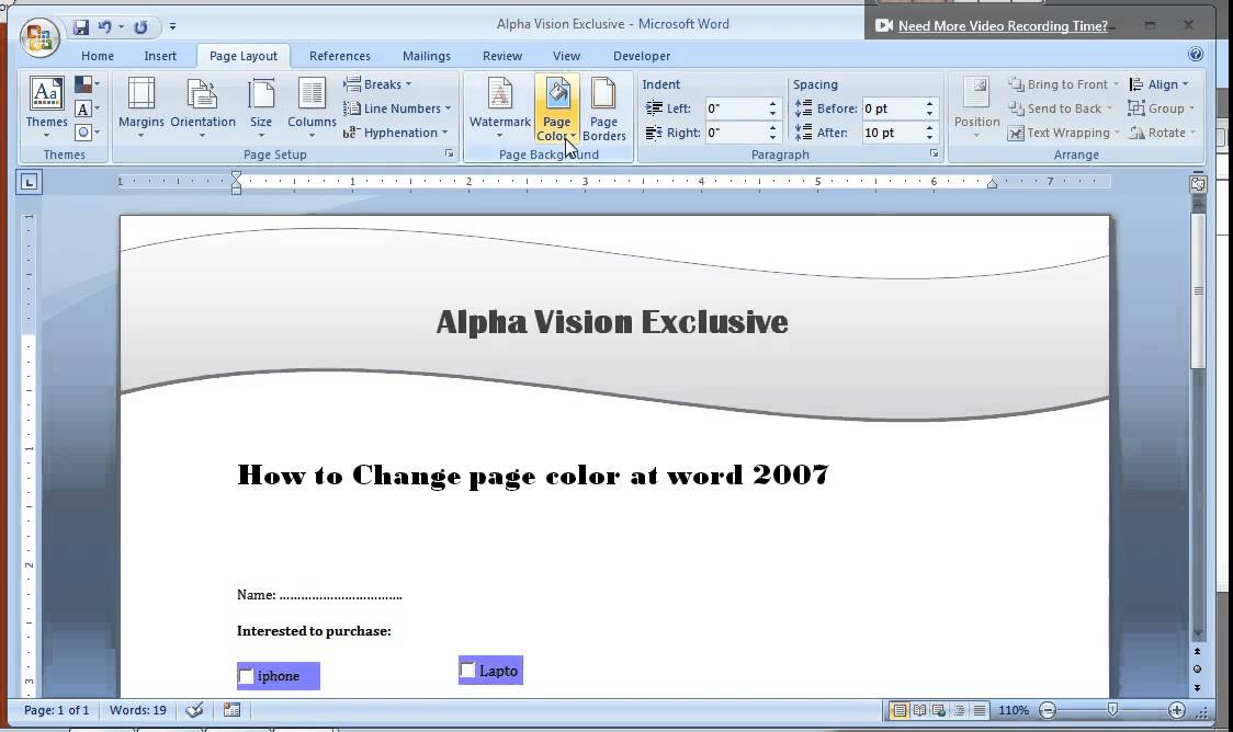 how to change page color at word 2007 youtube - How To Change Page Color In Word