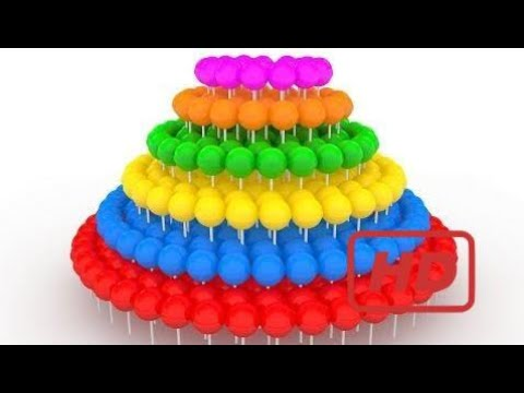 Learn Colors With A Lot of three-D Lollipops Spiral  - Big 3-D Spiral Lollipops  Colors for Childre