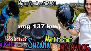 Lady Stunt Rider Suzana Short #MOTOVLOG ♥ her Town to Pokhar/speed 137 kmp #MRB_VLOG 🇳🇵
