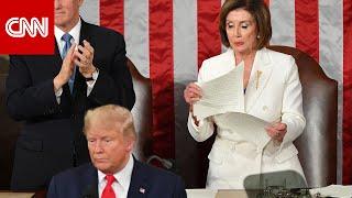 بيلوسي تكشف سبب تمزيقها خطاب ترامب في الكونغرس