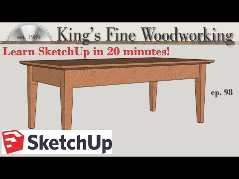 98 - Learn SketchUp in 20 Minutes - Complete Sketch Up Tutorial of a Coffee Table thumbnail