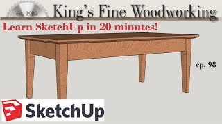 98 - Learn SketchUp in 20 Minutes - Complete Sketch Up Tutorial of a Coffee Table
