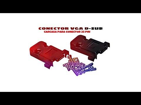 Video de Carcasa sub-d para conector 25 pin  Negro