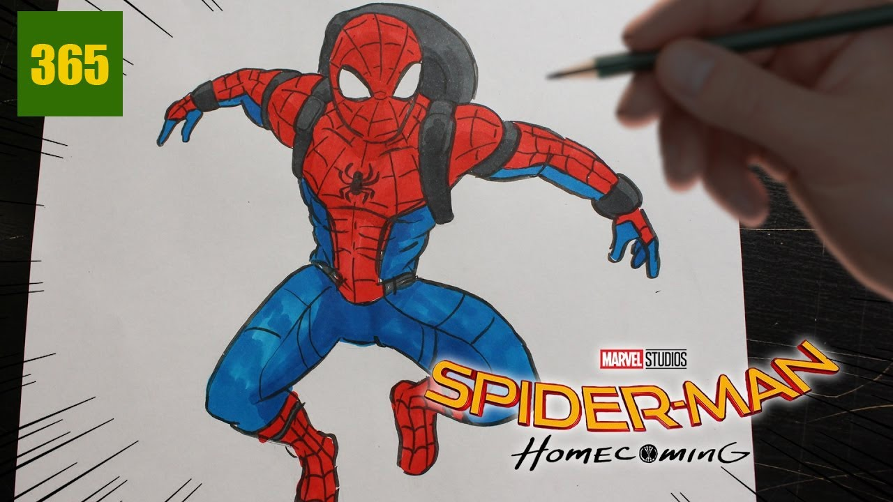 Comment dessiner spiderman homecoming youtube - Dessiner spiderman facile ...