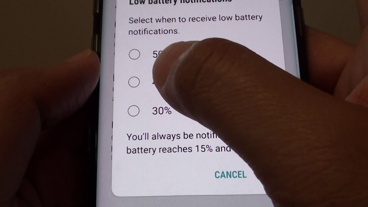 samsung notifica batteria