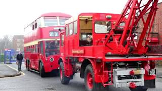 Moving trolleybuses at the Museum of Transport Greater Manchester
