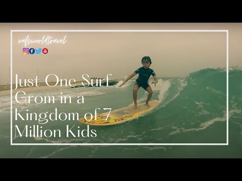 IN A COUNTRY OF 7 MILLIONS CHILDREN, HE IS THE ONLY ONE SURFING!
