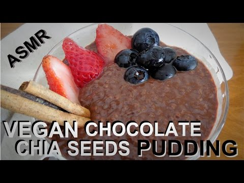 Vegan Chocolate Chia Seeds Pudding - ASMR cooking recipe w/soft whispers