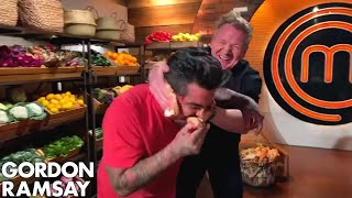 Gordon Ramsay PRANKS Aarón Sanchez in PB&J CHALLENGE!