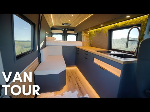VAN TOUR | HIDDEN SHOWER | Luxury Modern Tiny Home On Wheels | VANLIFE DIY Stealth Camper Conversion
