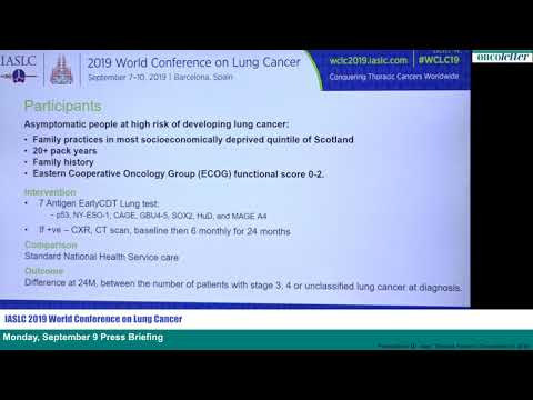 WCLC 2019: Early Detection Of Cancer Of The Lung Scotland (ECLS): Trial Results -- F. Sullivan