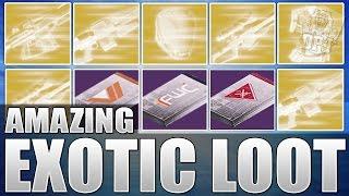 Destiny: Insane Exotic Loot Haul - Upto 400 Light Package & Exotic Engram Opening!