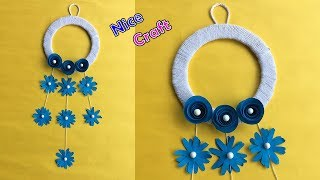 DIY paper flower wall hanging | Wall Decoration ideas | Best out of waste | Wool craft ideas