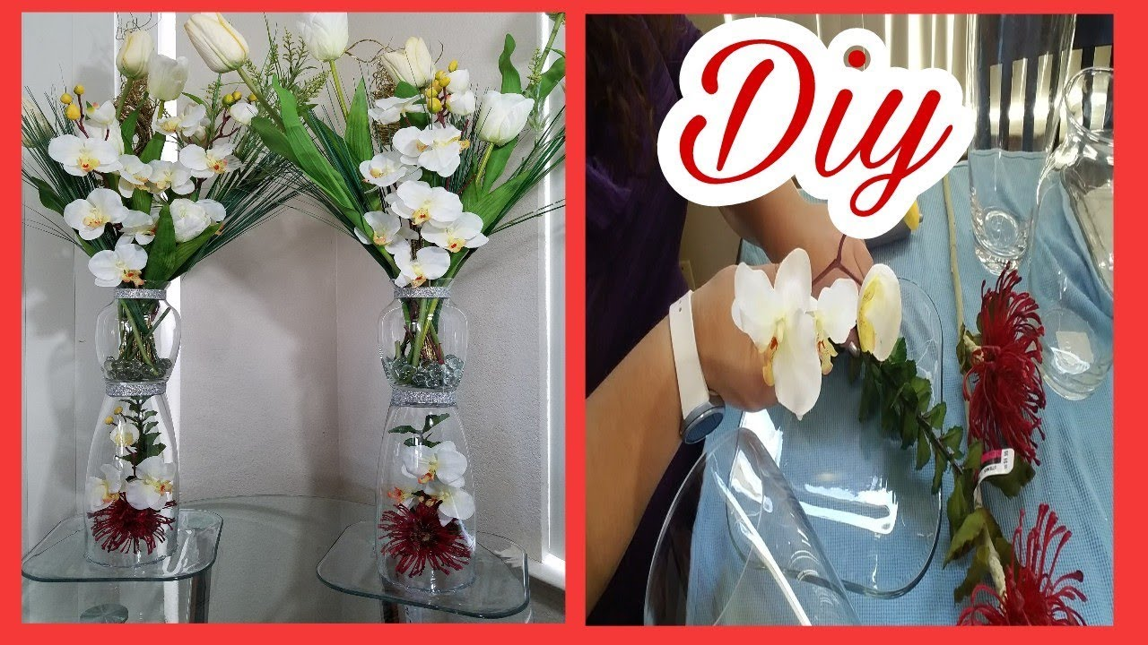 Decoracion jarrones de cristal elegante con flores - Decoracion de jarrones con flores artificiales ...