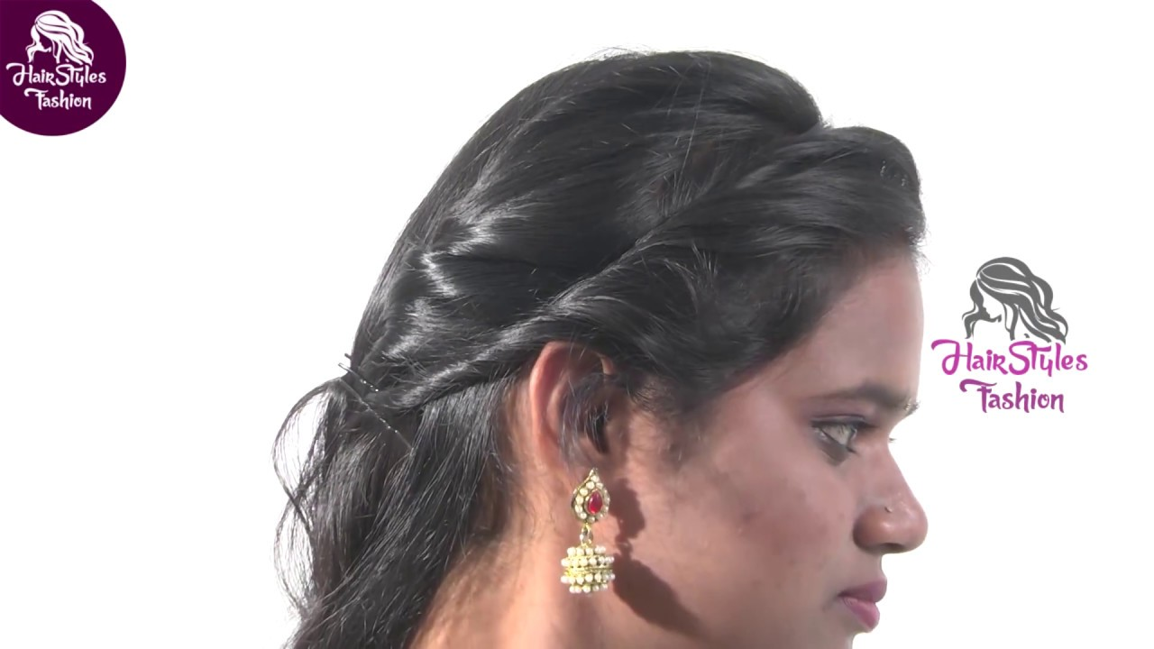 selfie Easy Party Wear Hairstyle For College Grils | messy stylish short hair medium - YouTube