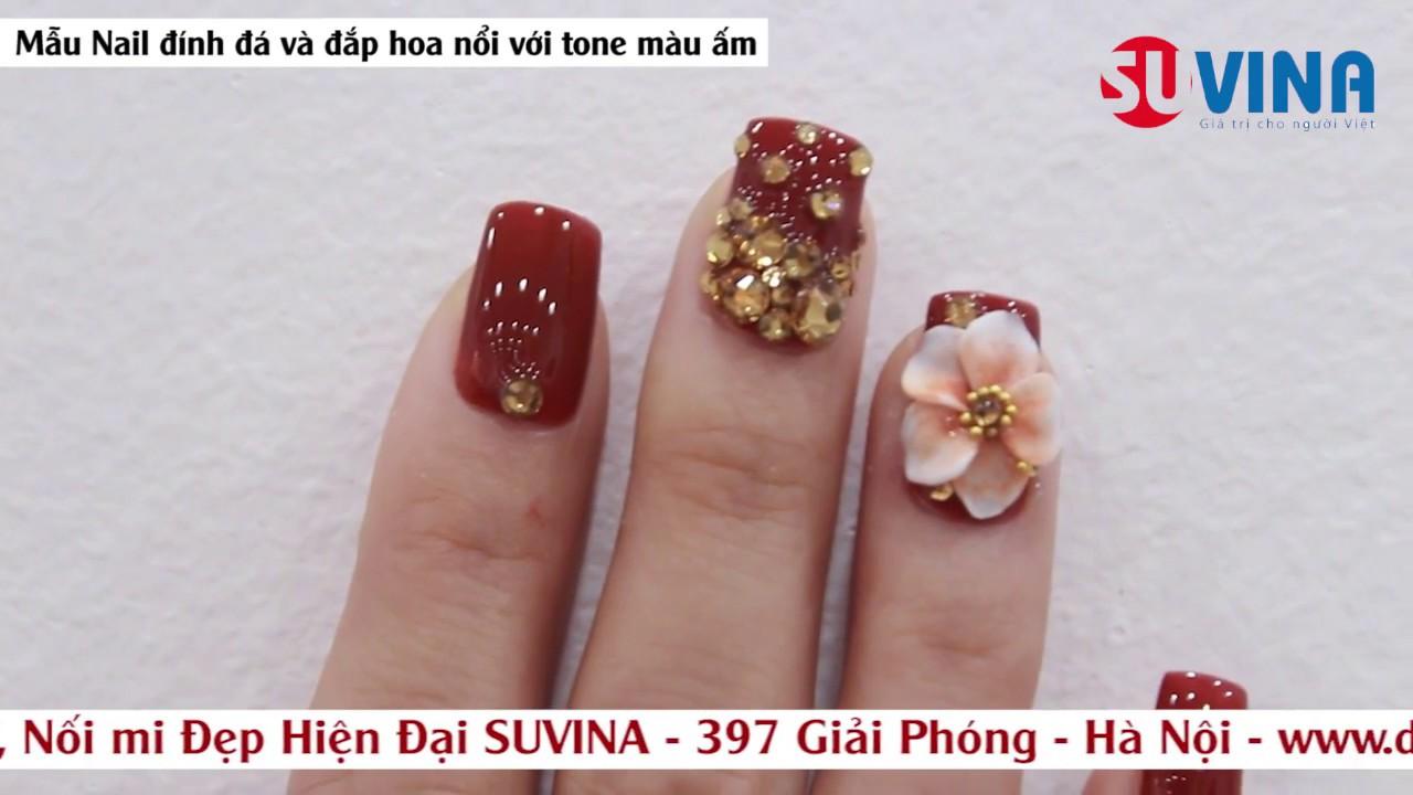 Nail Art – Làm móng đính đá và hoa nổi tone màu ấm
