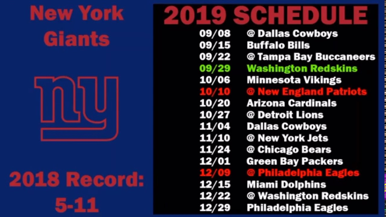 Lions Schedule 2020.New York Giants 2019 2020 Schedule