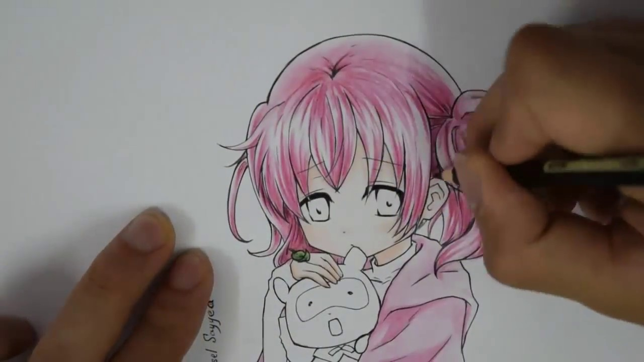 Speed drawing - anime girl with pink hair - رسم مسرع - انمي