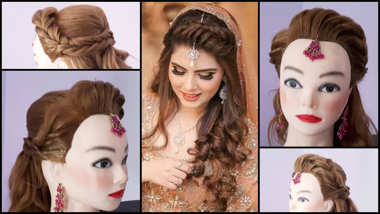 bridal hairdo || hairstyle for thin and long hair || bridal updo hairstyle