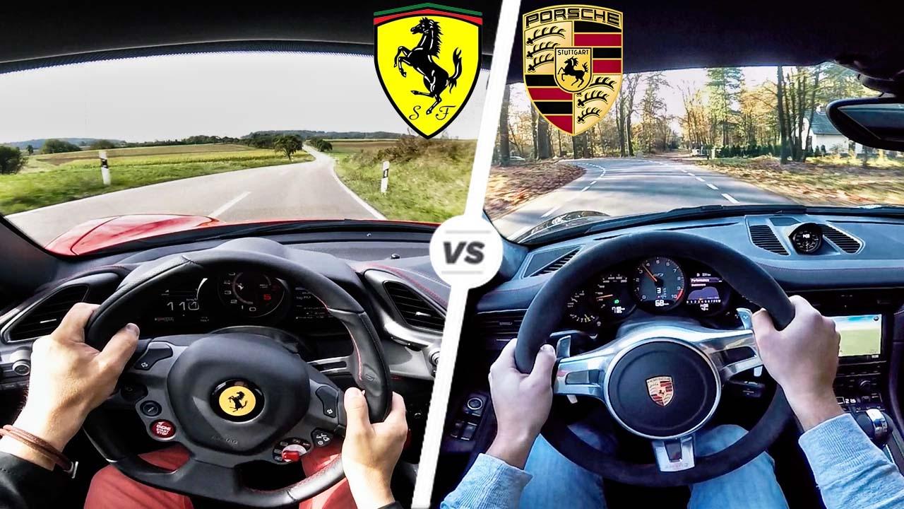 Ferrari 488 GTB vs Porsche 911 GT3 POV Test Drive & SOUND by AutoTopNL