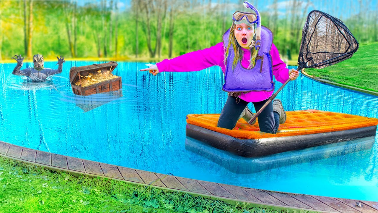 Searching for LOST Treasure Chest in POND MONSTER Water!! (Undercover Police Stole $10,000 GOLD)