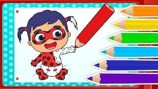 How to color BABY LADYBUG | Coloring Pages ❤️ Interactive App to learn by playing
