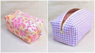 ボックスポーチ作り方 型紙なし How to sew a zipper box pouch 裏地付き 縫い代の見えない作り方