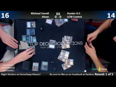Modern FNM w/ Commentary 8/11/17: Michael Farrell (Abzan) vs. Hunter H.F. (U/W Control)